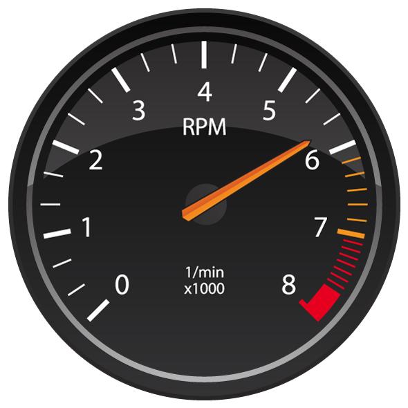 RPM Tachometer Automotive Dashboard Gauge Vector Illustration