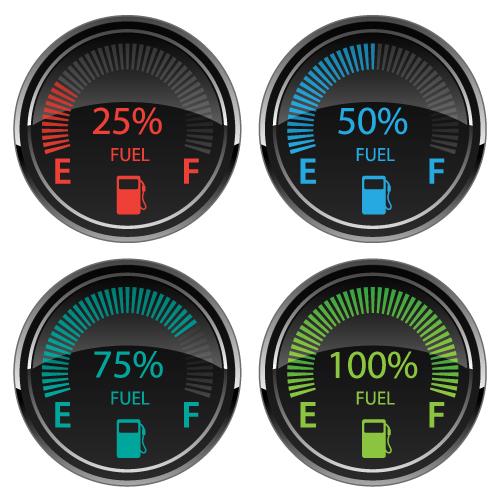 Modern Electronic Digital Car Gas Fuel Gauges Vector Illustration