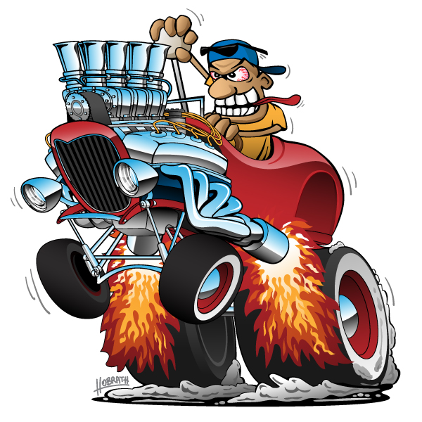 Highboy Hot Rod Race Car Cartoon Vector Illustration