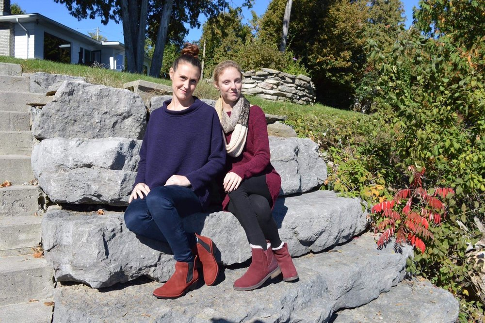 Our very own BnB line comfy, cozy for these cool fall days  Brittany wearing little suede Fly London - Andrea is wearing cozy suede shearling lined boot from Emu3.JPG