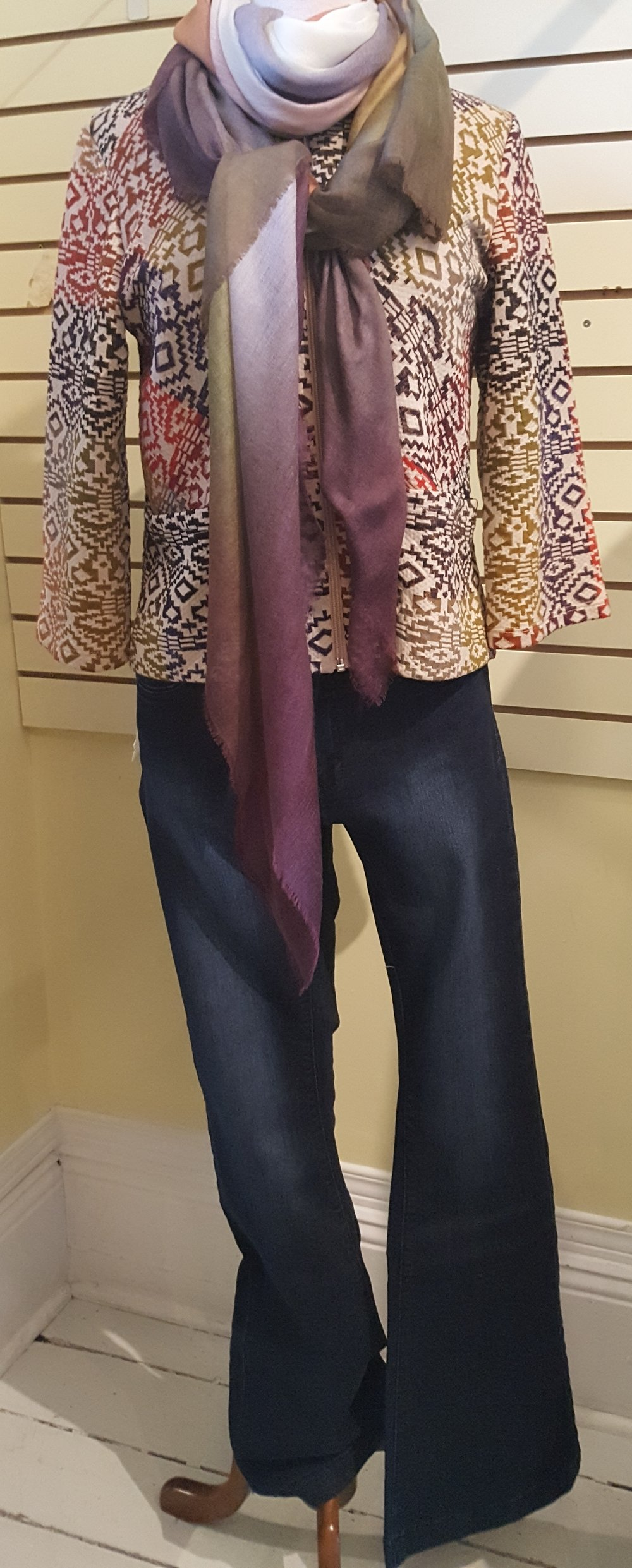 Lola wide dark denim jeans with Papillon blanc jacket, Tilo scarf with colours to match jacketB.jpg