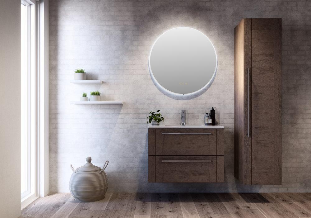 166. Trio 80 cm med rundt speil og høyskap 40 cm med hyller.jpg