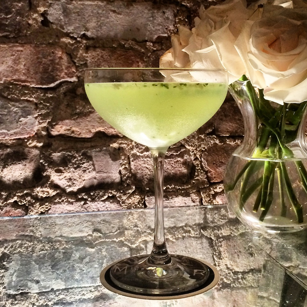 Muddle: 3 Cucumber Wheels, 2 Ginger Slivers, 4 Mint Leaves and 1/2oz vanilla simple syrup. Add: 3oz Vodka, 1oz Lillet Blanc and 2 Large Ice Cubes. Shake, Strain, Sip. Enjoy:)