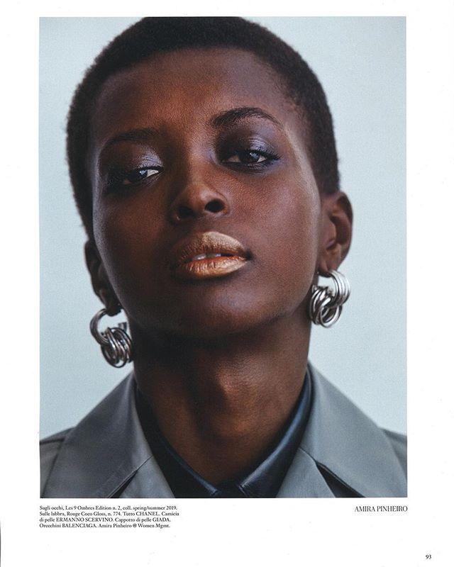Amira for Vogue Italia • photography: Josh Olins - fashion editor: Jacob K. - makeup: Sally Branka - hair: Cim Mahony - casting: Piergiorgio Del Moro - • • #vogue #editorial #voguemagazine #vogueitalia #amira #queenamira #amirapinheiro #brazilianmodel #beauty #blackpower