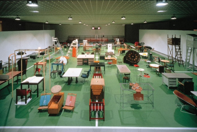 Installation view,  The Happy End of Franz Kafka's 'Amerika' , 1994, Museum Boymans-van Beuningen, Rotterdam. Photo: Jannes Linders. © Estate of Martin Kippenberger, Galerie Gisela Capitain, Cologne