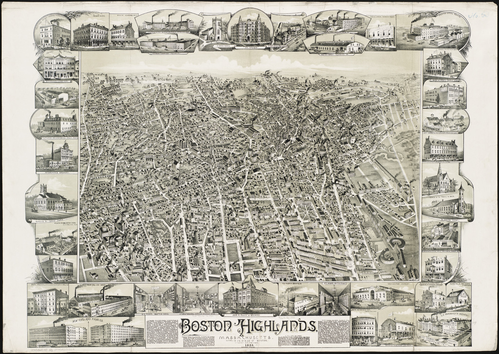 Via the Highland Park neighborhood website, here's a wonderful bird's-eye view of the Boston Highlands in 1888.  Click through to see a version you can zoom in on.