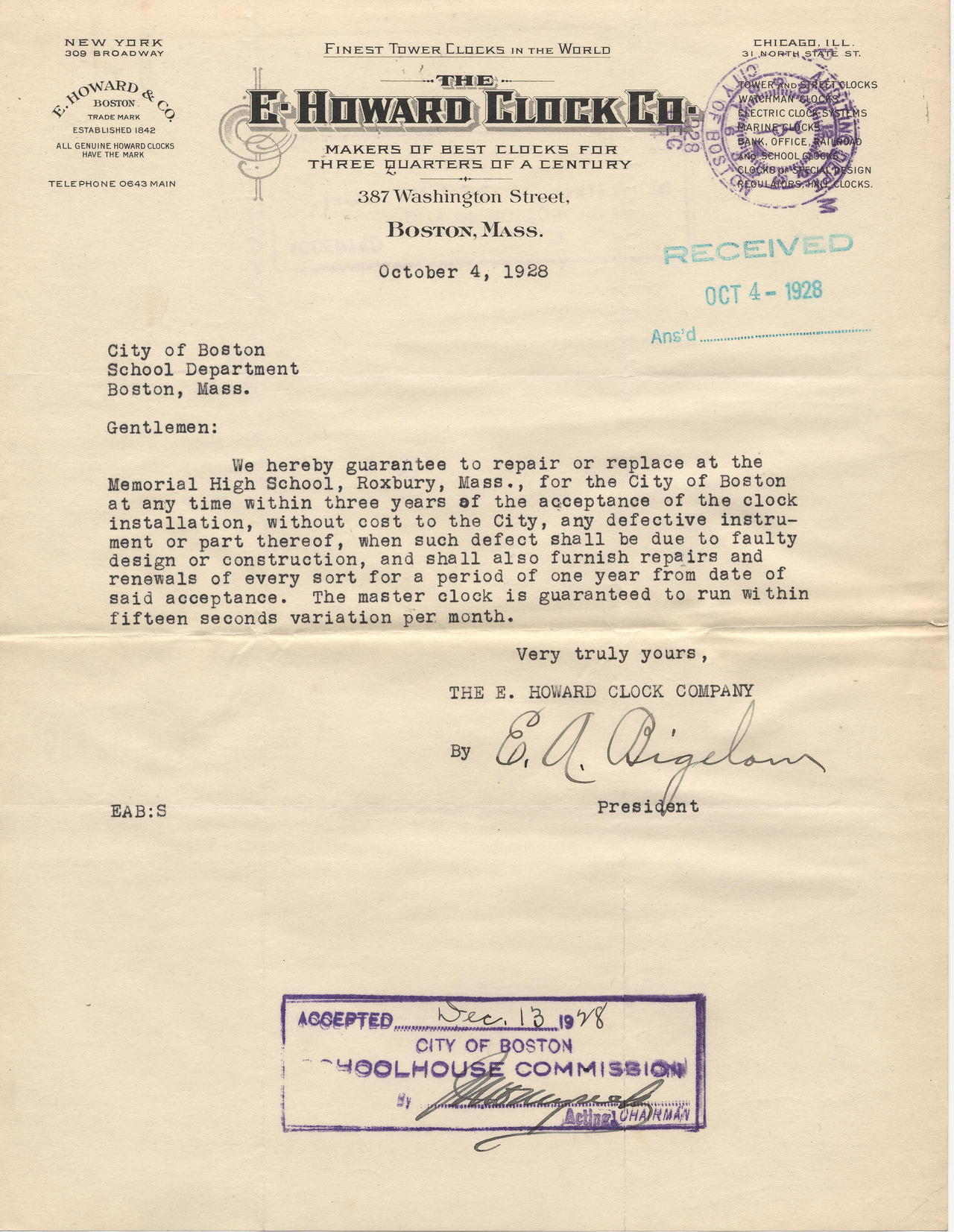 This one isn't technically Fort Hill related but it was too good to pass up a reblog.    cityofbostonarchives :     Clock system warranty letter, Roxbury Memorial High School for Boys, 1928, City Contracts (Collection #0700.005)        This work is free of known copyright restrictions.  Please attribute to City of Boston Archives.