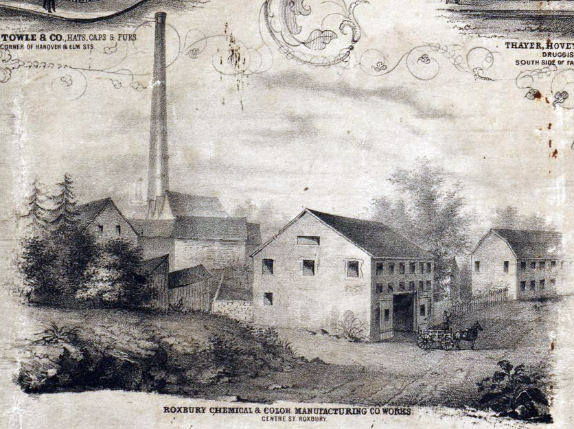 The facility was important enough to be highlighted with a border sketch in McIntyre's 1852 map of Roxbury, lower left corner.