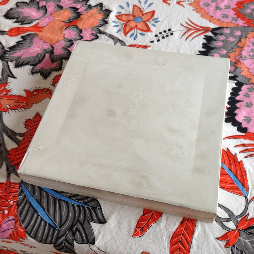 """9"""" x 9"""" Plaster cast, dried with edges cleaned up. approx. 1/8"""" bulge."""