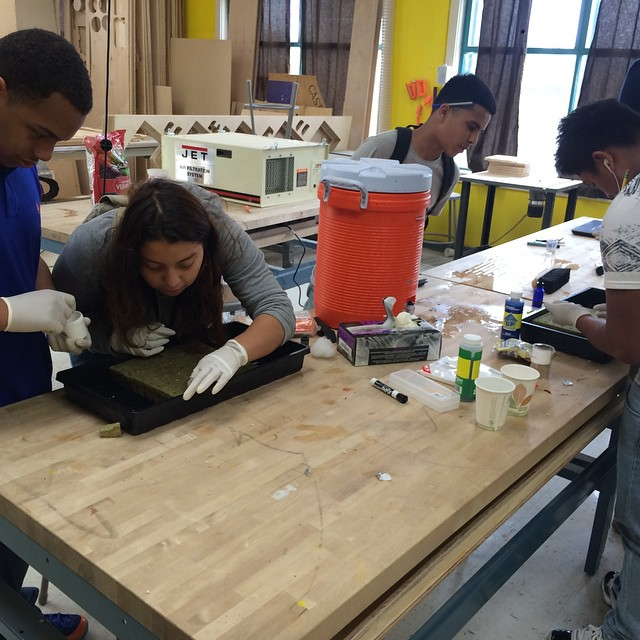 A shot of Castlemont Students planting Little Gem lettuce seeds last week.  T-minus 28 days til our first harvest! #hydroponics #STEM #verticalfarming #diy #oakland #urbanag