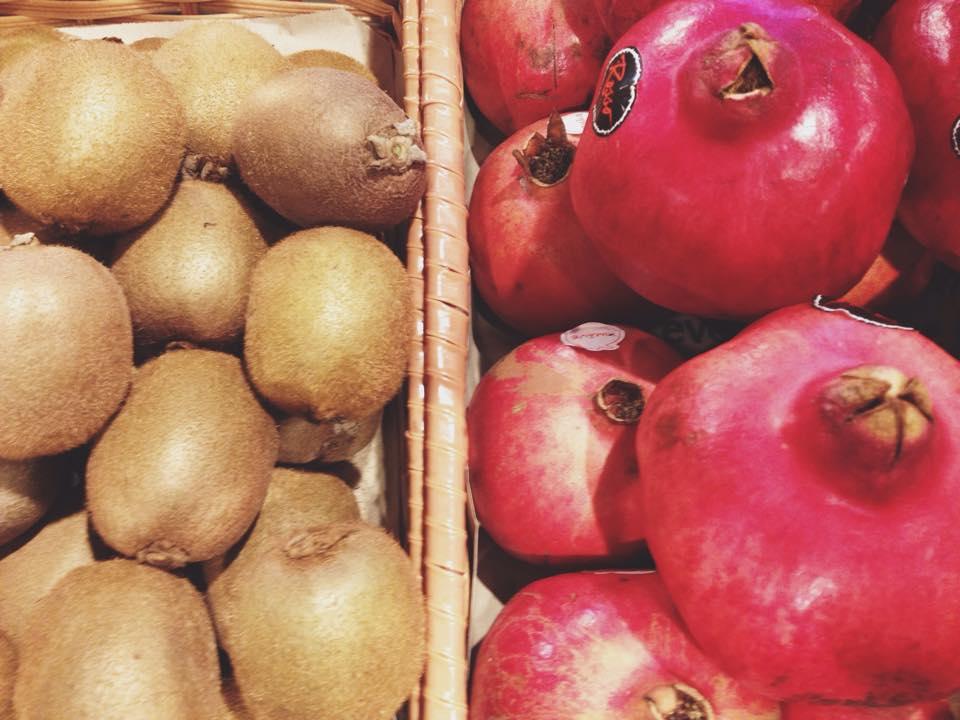 Kiwis andpomegranates.