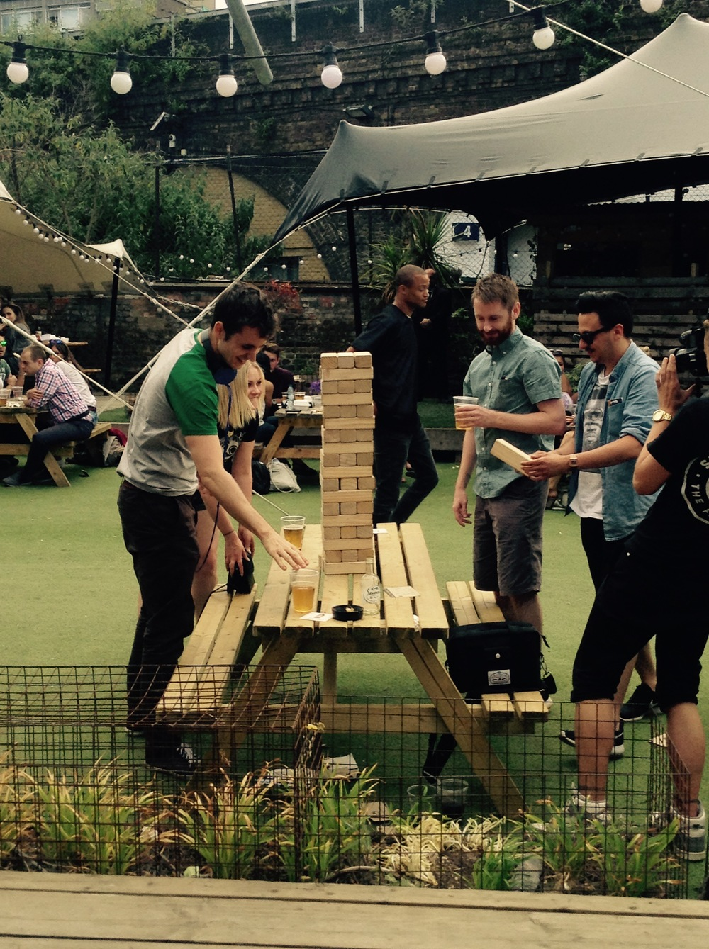 Beer fuelled giant jenga? Yes please!