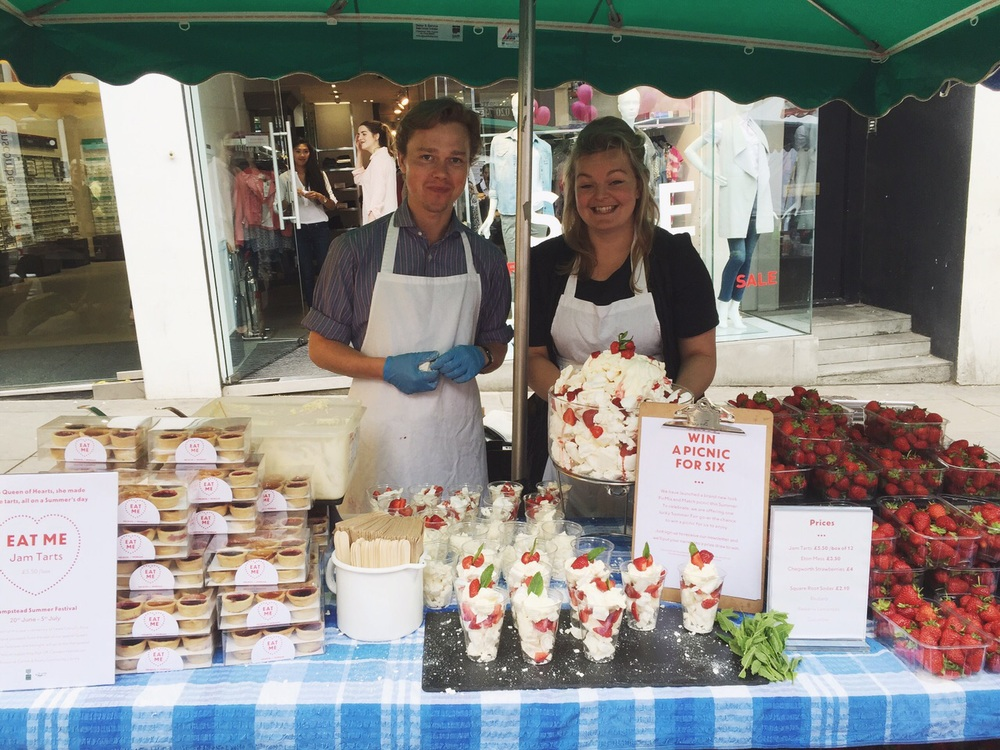 Jam tarts, meringues and strawberries. Yum!
