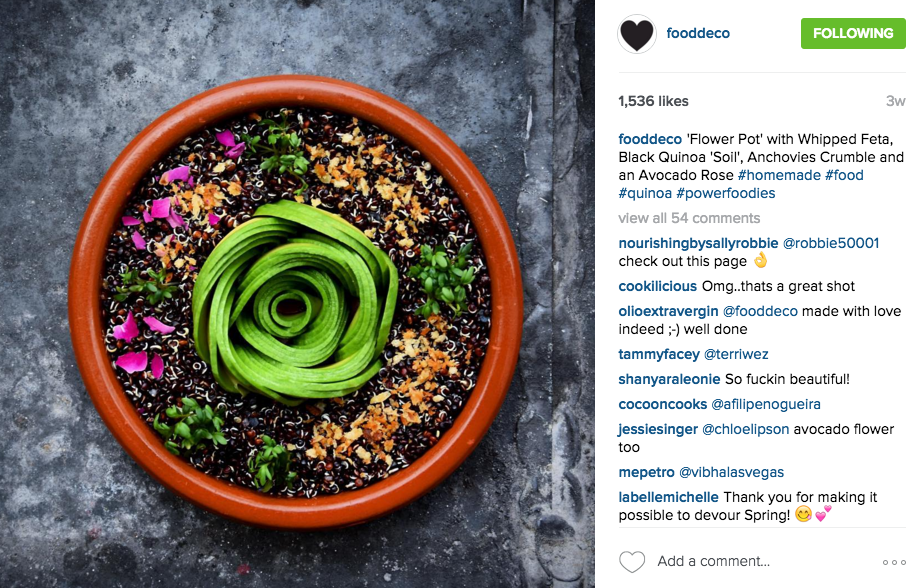 THIS DUTCH ACCOUNT IS ALL ABOUT AVOCADO AND CREATIVITY. EVERY PICTURE IS AN AESTHETICALLY PLEASING AVOCADO DESIGN ON TOP OF A HEALTHY MEAL, IT'S AN INSTAGRAM WIN-WIN. FOLLOW THEM HERE