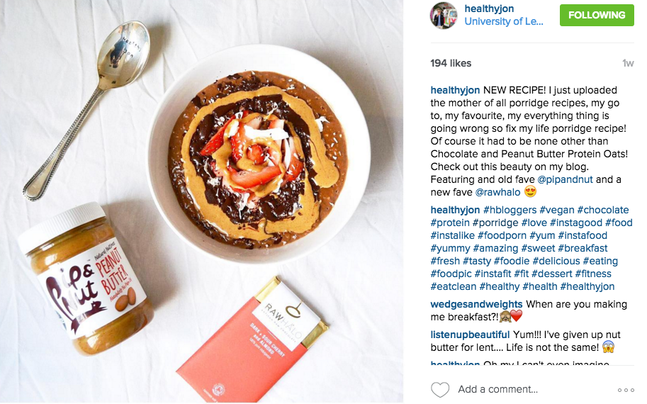 THIS UK CHAP IS A FAVOURITE OF OURS. NOT ONLY IS HE A FAN OF LICKALIX, HE LOVES TO CREATE A HEALTHY MEAL. IF WE WANT TO KNOW ABOUT A NEW HEALTHY PRODUCT, CHANCES ARE HEALTHYJON HAS TRIED IT. FOLLOW HIM HERE