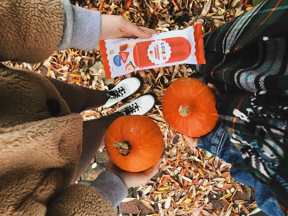 2. Enjoying our LICKALIX ice lollies at the park and jumping on crunchy autumn leaves! We did just that for some lunch time fun!