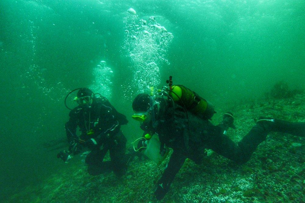 Trond og Emil på dagens dykk (Foto: Dan O Valrygg)