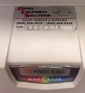 Example:  Code Number: 6Y01378  Model: KM-C3225