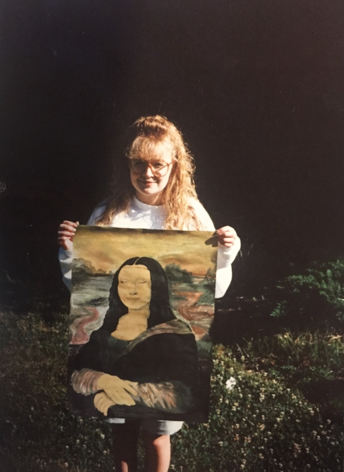 Mona Lisa and Me, Senior year, 1992 (this piece is framed and hangs in smARTStudio)