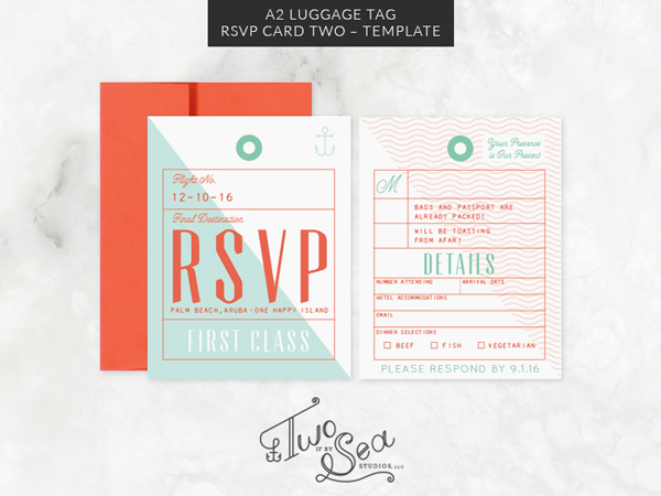 A2 Luggage Tag RSVP Card Two Template TWO IF BY SEA STUDIOS