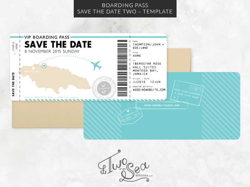 Boarding Pass Save the Date Template 2 — TWO IF BY SEA STUDIOS