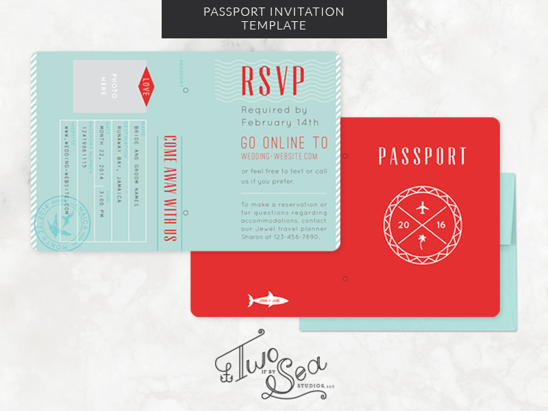 Passport Wedding Invitation Template Two If By Sea Studios