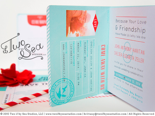 Passport Wedding Invitation Template TWO IF BY SEA STUDIOS – Passport Wedding Invitation