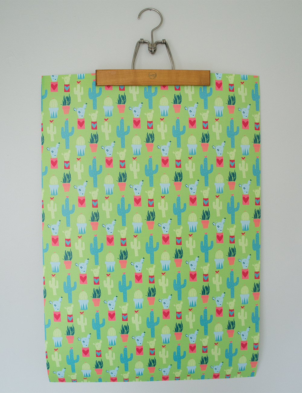 Homegrown Love Green Cactus Gift Wrap Paper