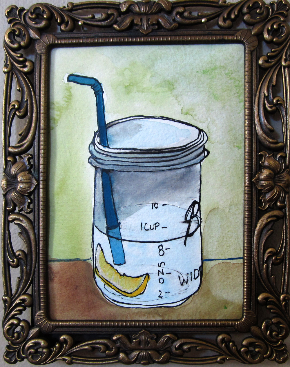 4: Lemon water in ball jars 7 x 9""