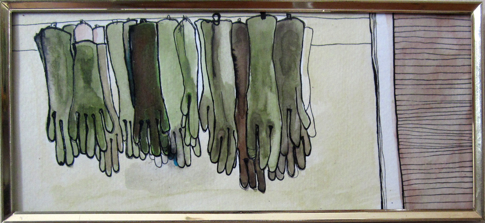 20: Rubber Gloves Hanging in a Row 11.5 x 5""