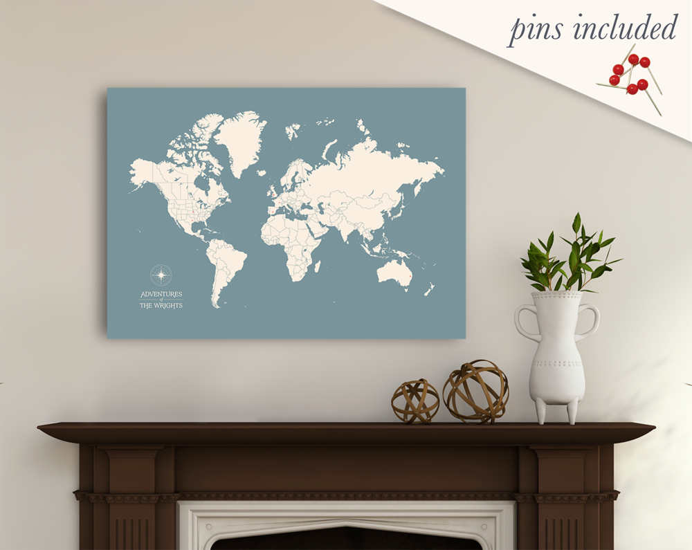 Personalized Push Pin Travel Map — laurenmaryDESIGN