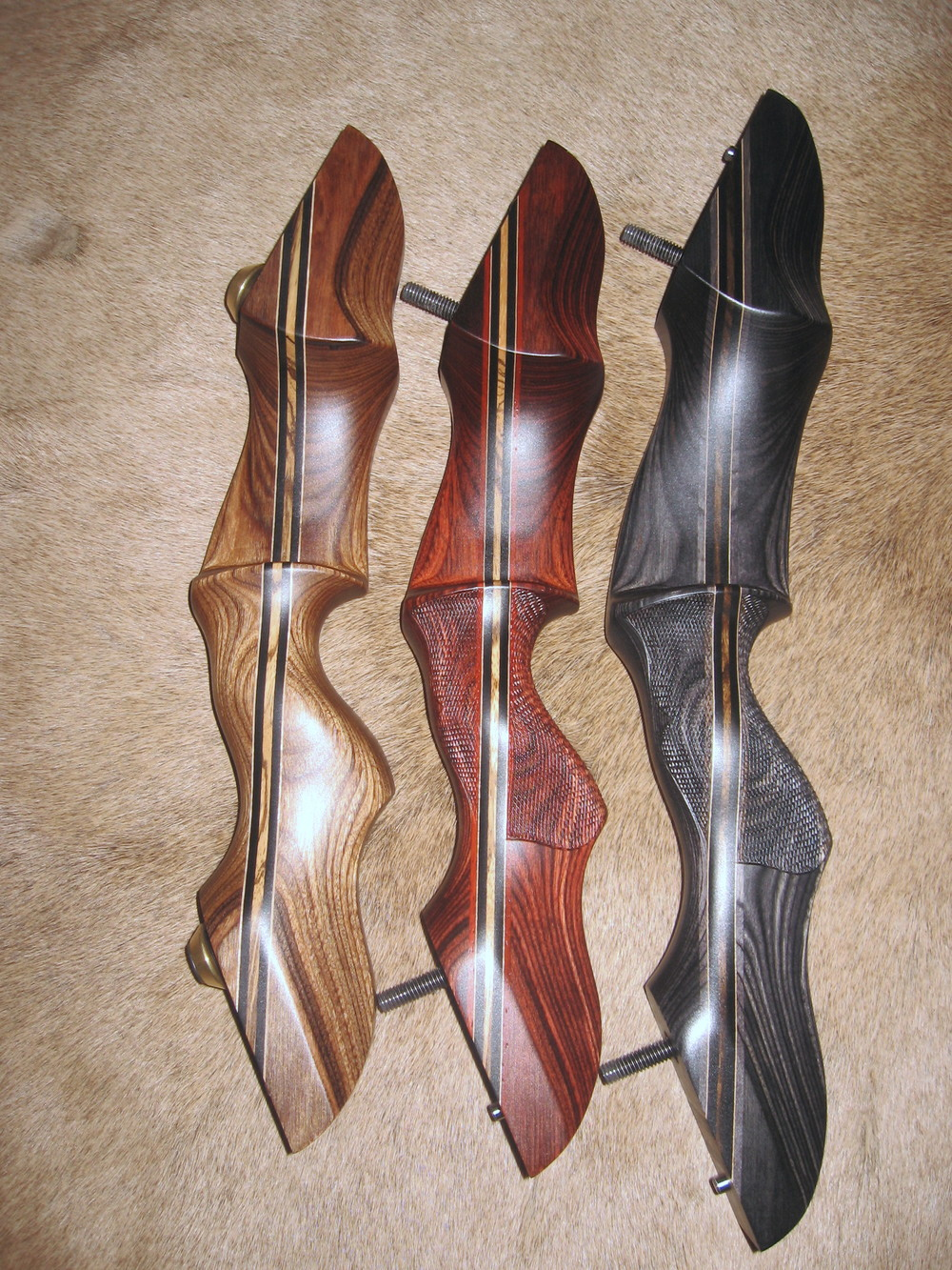 Examples of Standard Dymondwood Risers   (left to right)  Walnut, Rosewood and Charcoal