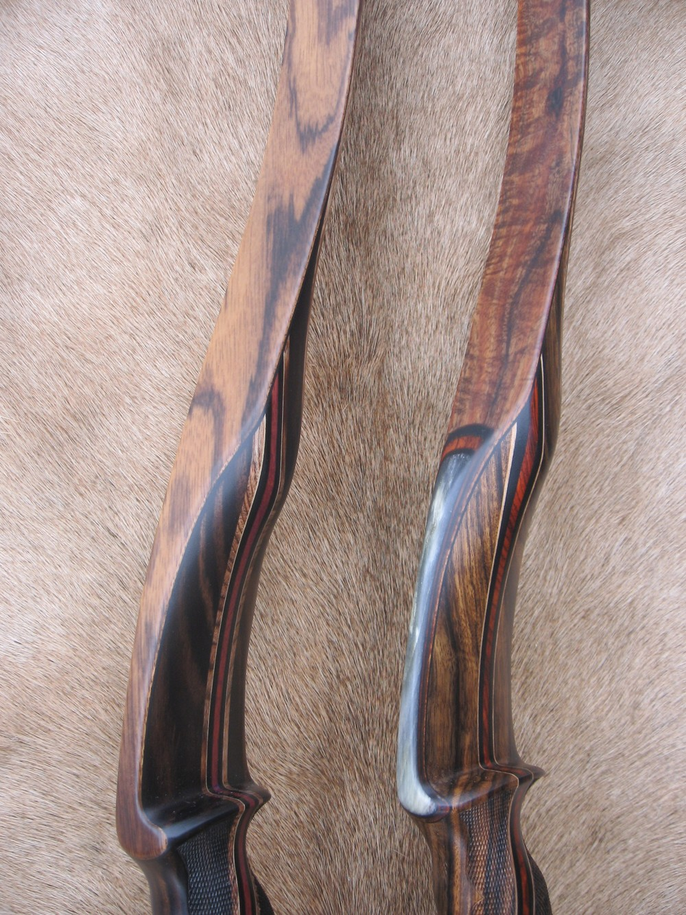 Left to Right  Macassar Handle/Zebrawood Limbs  Shedua Handle/Koa Limbs