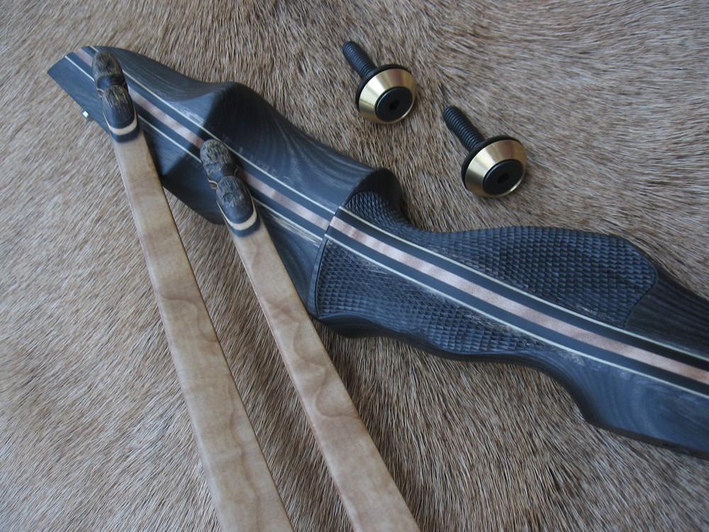 CharcoaL Dym Riser- Quilted Maple LImbs ( brass allen style bezels)