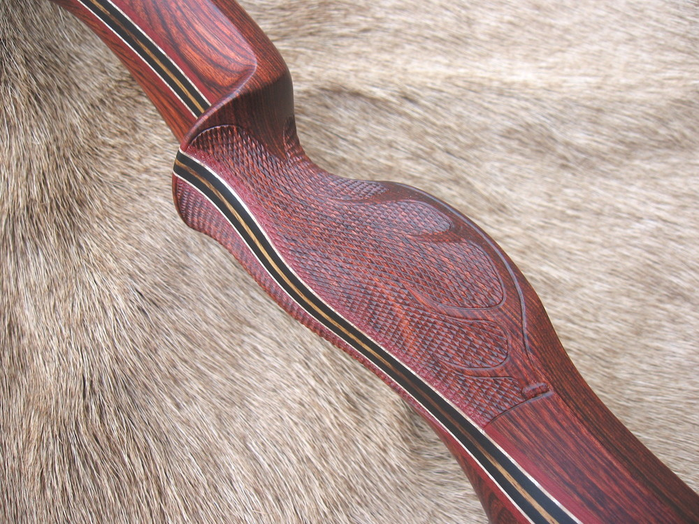 Rosewood Dym Riser- Carved Elk in checkering