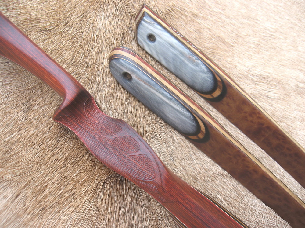 Rosewood Dym Riser w Elk carving in checkering- Camphor Burl LImbs with smooth Sheep Horn base overlays