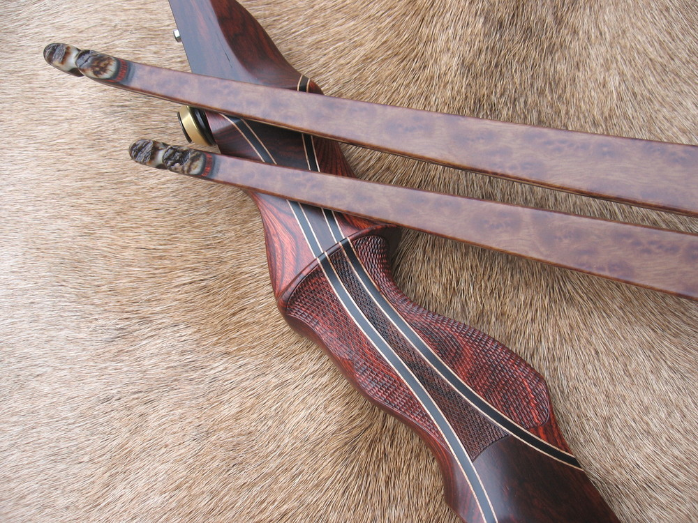Rosewood Dym Riser w/ Cocobolo Flare- Camphor Burl LImbs w/ rough Sheep Horn tips