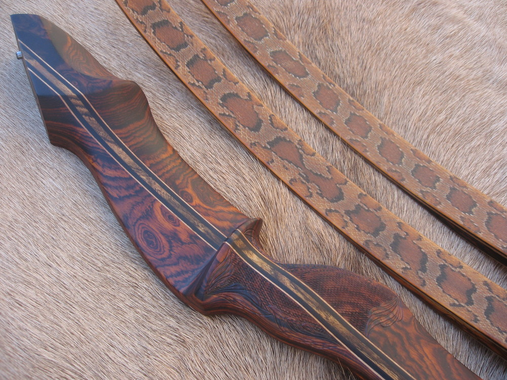 Cocobolo Riser- Copperhead Skins  ( carved detail around checkering)