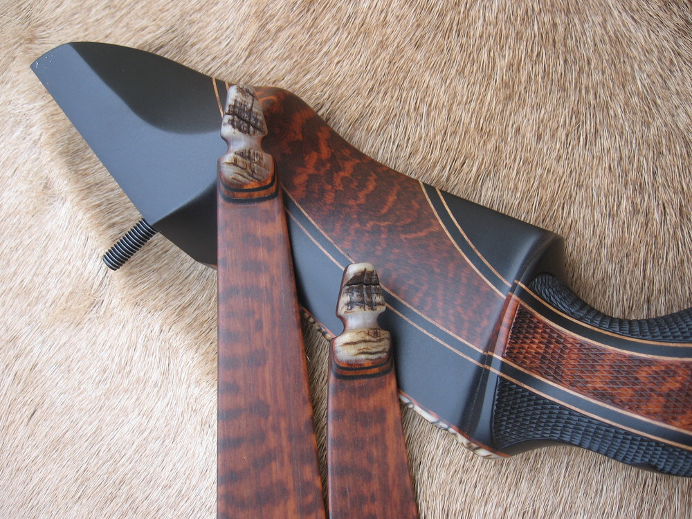 Gaboon Ebony Riser w/ Snakewood Cresent- Snakewood Limbs w/ Rough Sheep Horn tips