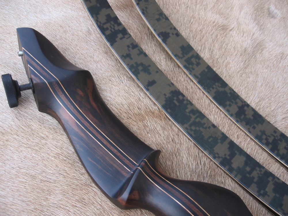 Macassar Ebony Riser- Digital Camo Limbs (cotton t-shirt provided by customer)