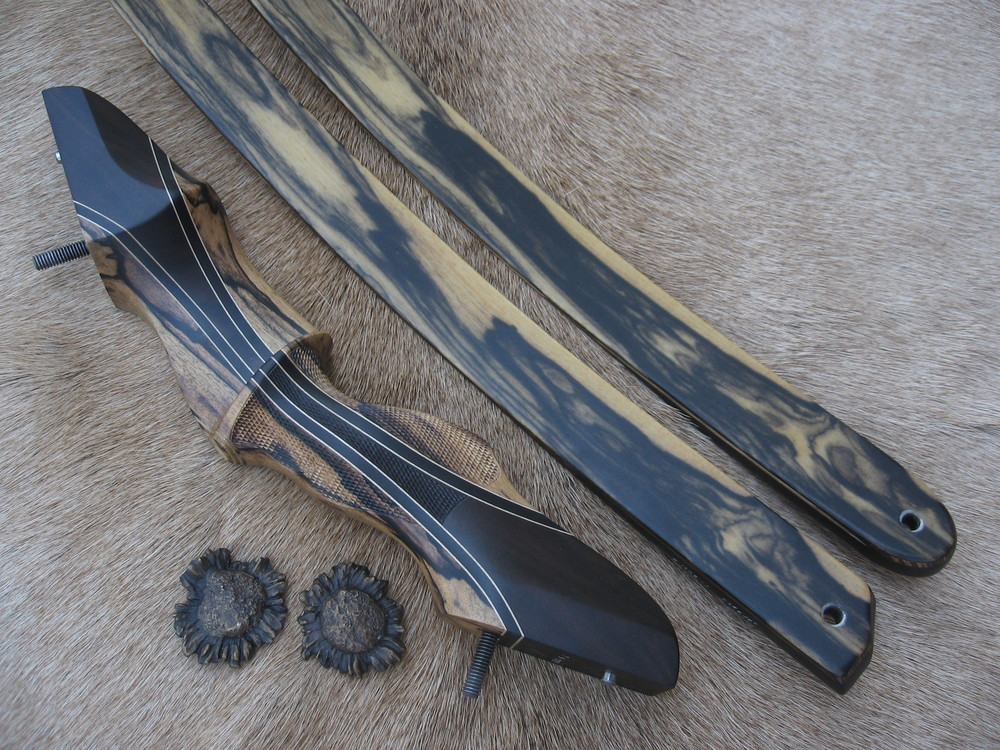 Black and White Ebony Riser w/ Gaboon Ebony Flare- Black and White Ebony Limbs