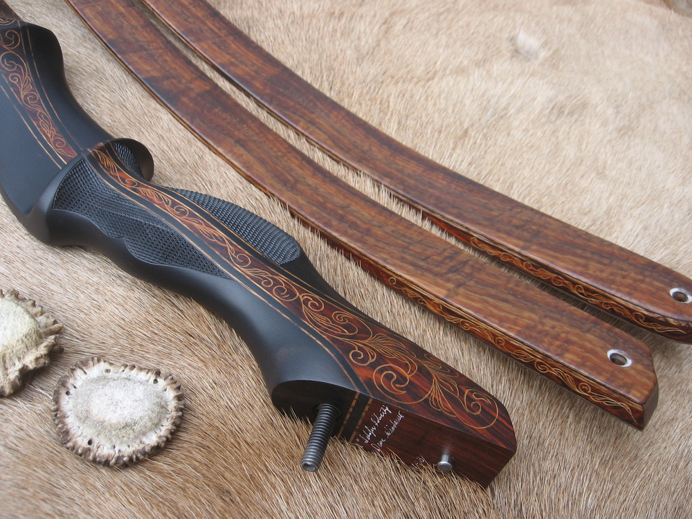 Macassar Ebony Riser w/ Cocobolo Flare- Koa Limbs  (hand carved details in flare)