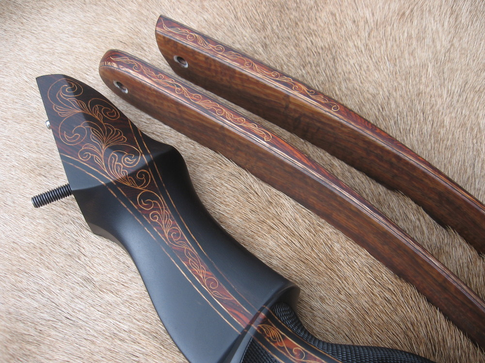 Macassar Ebony Riser w/ Cocobolo Flare- Koa Limbs  (hand carved details in flare and wedges)
