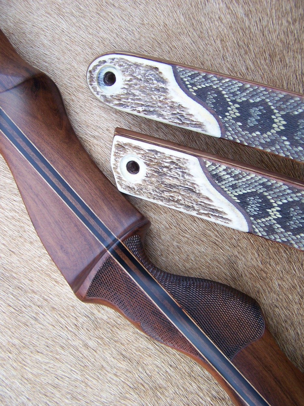 Macassar Ebony Riser- Diamondback skins with Anlter limb bases