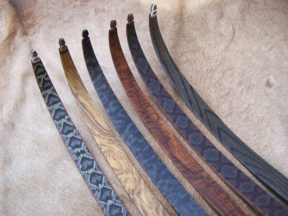 Left to Right- Diamondback skins, Olive Ash, Quilted Maple stained charcoal, Koa, Copperhead skins, Red Elm stained charcoal