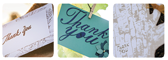 3 Images of custom designed thank you notes by Pa-py-ri. Having trouble seeing this image? Visit our Facebook page for more photos.