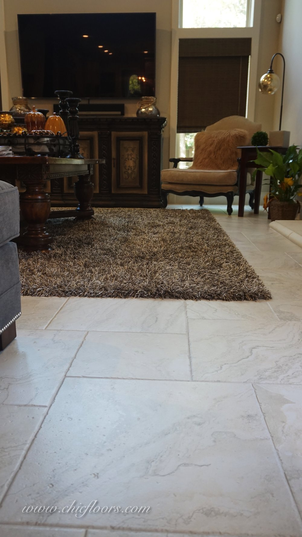 The same tile also pairs beautifully with the custom-sized rug, from Tuftex, style Bling.