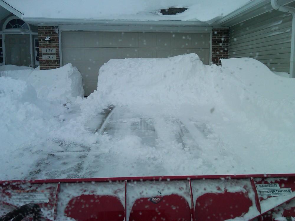Deep snow on driveway