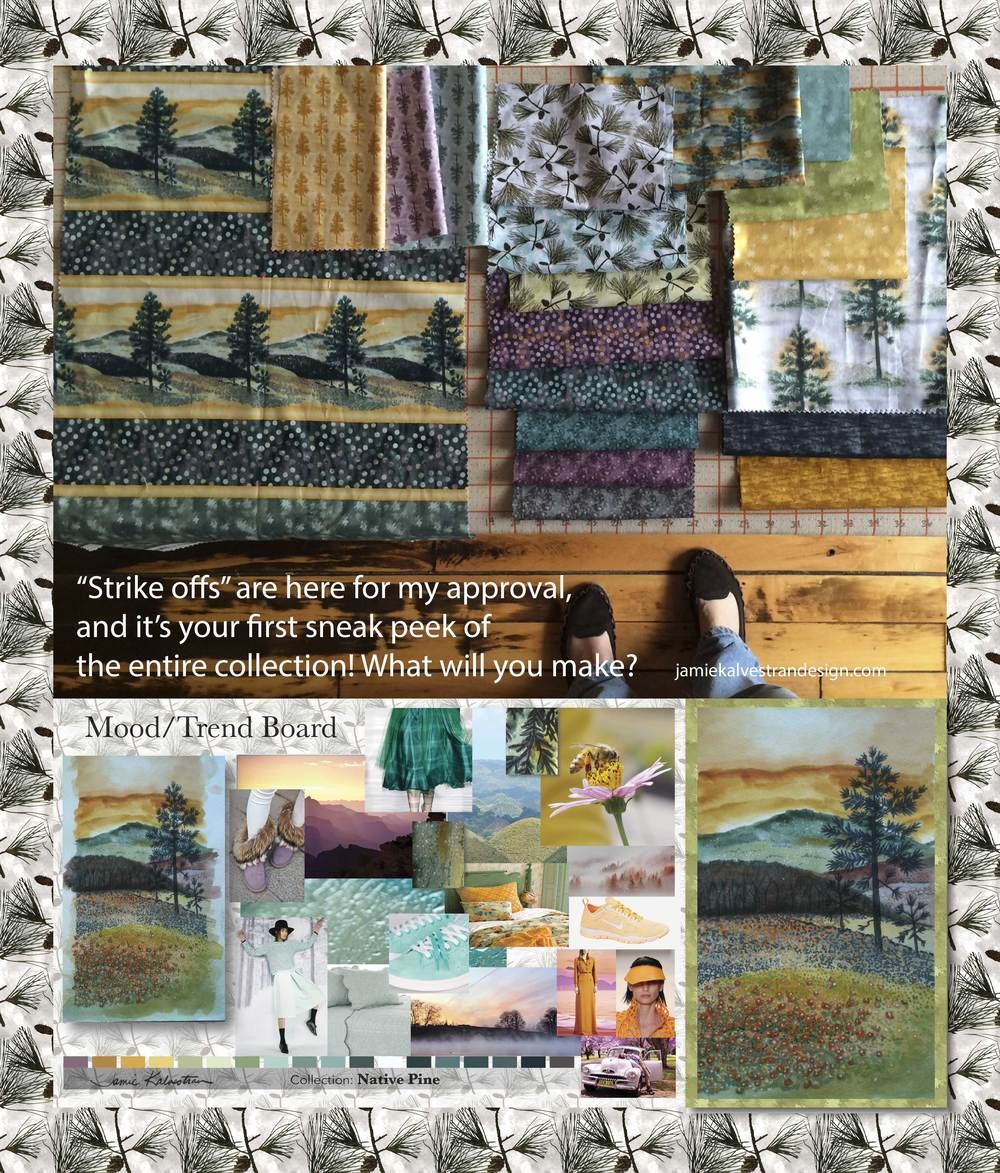 Jamie-Kalvestran-Native-Pine-Quilt-Fabrics-Quilting-treasures-licensed-art