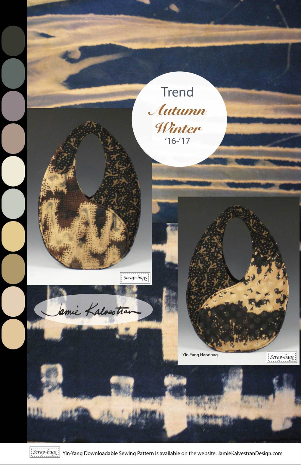 Trend for Autumn Winter 2016-17, and you will find the Scrap-bags Yin-Yang Handbag Sewing Pattern download is available here.